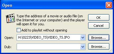 Play DVD folder on hard drive by opening the Video_TS.ifo file.