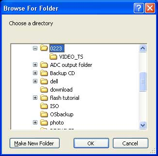 Browse DVD folder on hard drive for converting with Any DVD Converter.