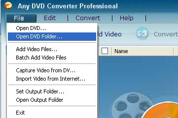 Open DVD folder on hard drive and add to Any DVD Converter.
