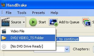 Open DVD folder on hard drive and add to Handbrake.