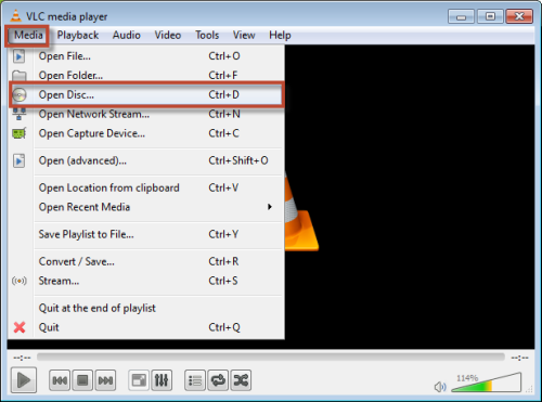 Open DVD with VLC media player