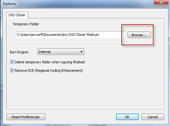 change temporary folder directory