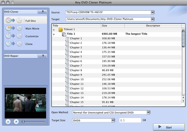 Any DVD Cloner Platinum for Mac DVD copying window