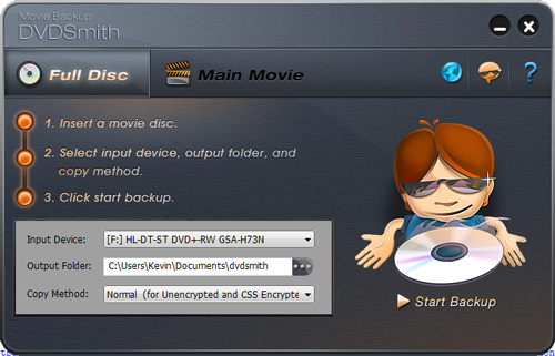 Main window of DVDSmith Movie Backup