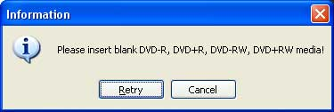 insert blank dvd disc notice